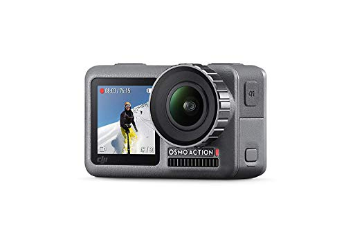 DJI Osmo Action Cam Digitale Actionkamera mit 2 Bildschirmen 11m wasserdicht 4K HDR-Video 12MP 145° Winkelobjektiv Kamera Schwarz (OSMO Action)
