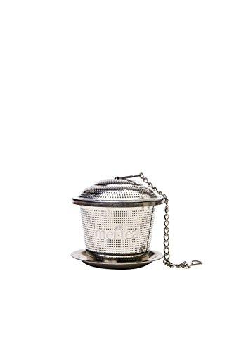 meitea - Tee-Ei Edelstahl Teefilter (2er Set) mit Abtropfschale und Teelöffel - hochwertiges Teesieb & Teekugel - 6