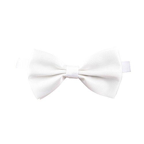 Satin Bow Tie with adjustabe Strap White for Fancy dress Accessory (Bettwäsche Utility Schürze)