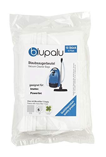blupalu I Sacchetti per aspirapolvere Imetec Powertec I 10 Pezzi I con Filtro per polveri Sottili