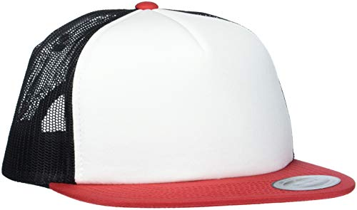 Flexfit Foam Trucker with White Front Cap, red/Wht/Blk, one Size