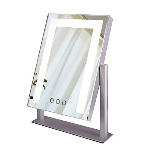 leuchteter Kosmetikspiegel für Die Arbeitsplatte, HD 180° Drehbarer Princess Spiegel Perfekter Anzug für Geburtstagsgeschenke für Mädchen (Color : White, Size : B) ()