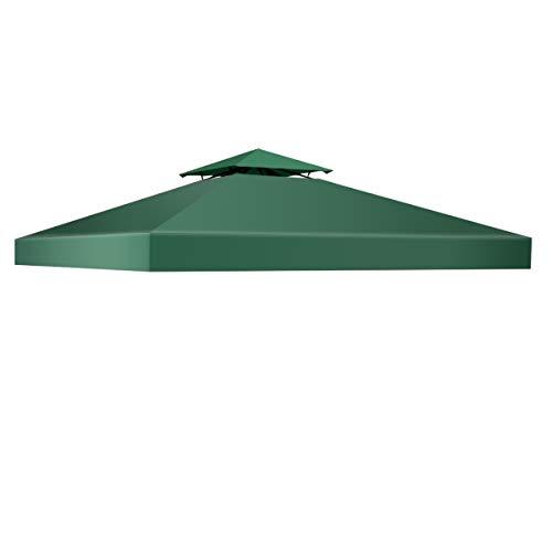 COSTWAY Pavillondach Ersatzdach Pavillonplane Dachabzug Kaminabzug Dachplane für Pavillon 3x3M (Grün) -