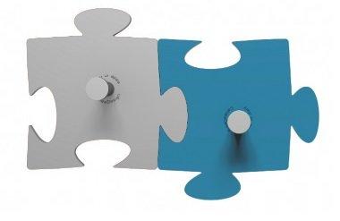 Porte-Manteau Mural Design Puzzle 2 Pièces Gris/Bleu