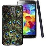Galaxy S5Fall Schwarz Individuelle Schwarz Weichem Gummi TPU Samsung Galaxy S5Schwarz Fall Druck Totem Pfauenfeder (Lifeproof Case Samsung Galaxy S5)