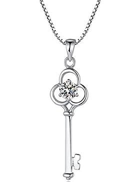 925 Sterling Silber schlüssel anhänger love herz halskette mit 18