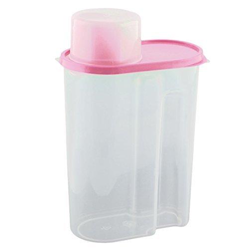 Dealmux Plastique ménagers de cuisine céréales grains de grain de riz récipient à nourriture Boîte Coque 2.5L Rose clair