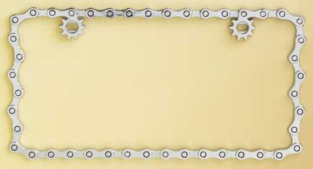 Bike Chain Frame - Chrome Plated Metal Numberplate Holder for American License Plates (12x6