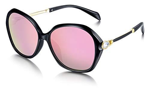 WHCREAT Damen Mode Polarisierte Sonnenbrille UV400-Schutz Übergroße Brillen - Schwarz Rahmen Verspiegelt Rosa Linse