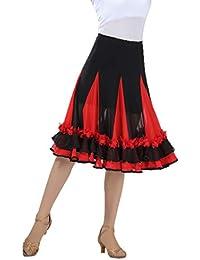 Fenteer Jupe de Danse Flamenco à Fleurs Paillettes Broderies Florales Swing  Tulle Costume de Valse pour 635582a42c2