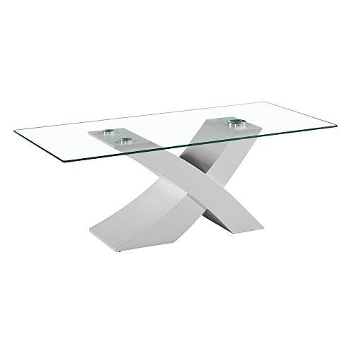 Tavolo da Pranzo Cucina Soggiorno in vetro temperato e legno mdf - EGLEMTEK TM (Bianco) 181 x 90 x 76 cm