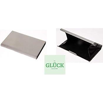 Visitenkarten Etui Box Silber Metall Gebürstet Edel
