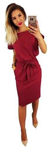 Longwu Damen Elegantes Kurzärmeliges Kleid für Freizeit und Arbeit mit Gürtel Weinrot-XXL