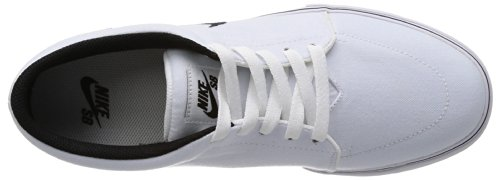 Nike Satire Canvas, Scarpe da Skateboard Uomo Bianco / Nero (White / Black-White-Black)