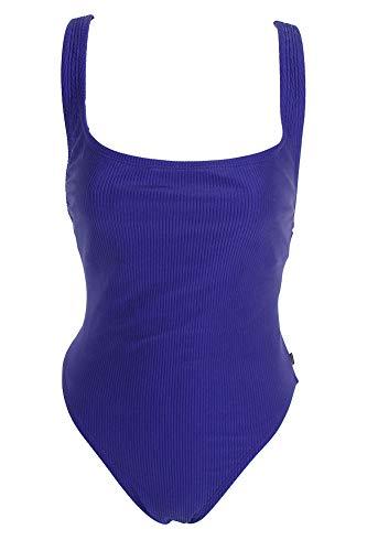Reebok Damen Badeanzug Ribbed Purple Einteiler High Leg Badeanzug - violett - Large