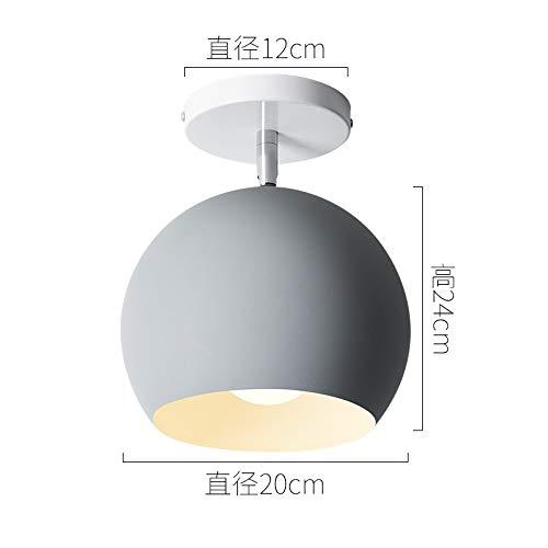 Moderne Arbeitszimmer Balkon Veranda Lampe Durchmesser 20cm grau mit LED-Weißlicht 9 Watt Glühbirne