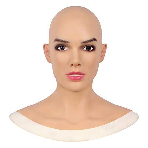DMCR Weich Silikon Kopf Maske Lebensecht Weiblich Gesicht Handgemacht Crossdresser Transvestit Cosplay Halloween Kostüme Parodie Geschenk (Roboter Weibliche Kostüm)