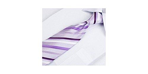 Coffret Nouvelle-Orléans - Cravate parme à rayures blanches, violettes claires et foncées, boutons de manchette, pince à cravate, pochette de costume