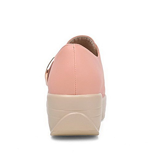 AllhqFashion Femme Pu Cuir Couleur Unie Velcro Rond à Talon Correct Chaussures Légeres Rose