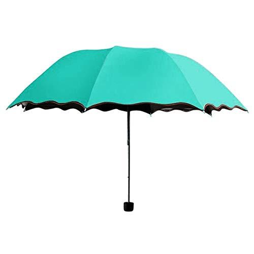 ZGMMM Regenschirm Windsicher Umweltsonnenschirme Frauen Reise Sonnenschirm Falten Regen Folding Anti-UV -Sonne/Regen RegenschirmMint Green -