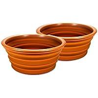 2x Silicona Cuenco de cocina Picnic Senderismo Mochila camping Outdoor plegable color marrón