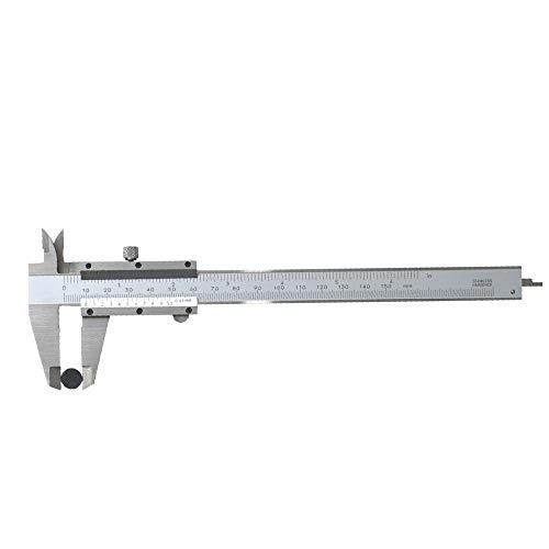 Welcomefee Calibro Vernier in acciaio inox, 0-150 mm, strumento di misurazione micrometro