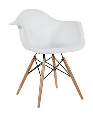 Charles Eames Style DAW Dining Chair Plastic - White