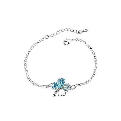 Bracelet Blue Pearls - Blue Pearls-Bracelet Trefle en Cristal de Swarovski