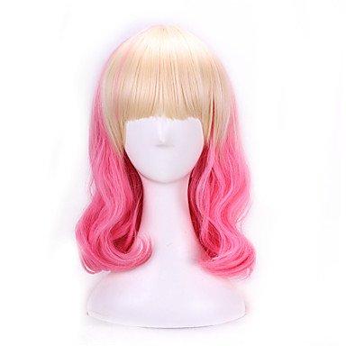 40cm Harajuku Anime Cosplay Perücken Party Wave Gelockt Kunsthaar Perücken Halloween-Kostüm Pink Blonde Ombre Perücken (Halloween Kostüme Dallas In)