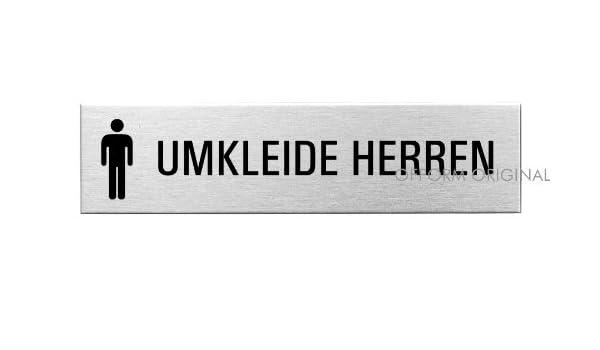 OFFORM Edelstahl Türschild I Schild I Umkleide Herren I 160x40 mm I Nr.10157