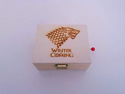 Caja de música de madera de pino con el lobo de Juego de Tronos. Melodía de Juego de Tronos. Regalo ideal para los fans de la serie.