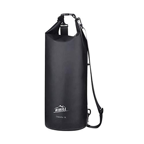 HiHiLL BorsaImpermeabile, Zaino WaterproofDry Bag con Tracolla Regolabile per attività all'Aperto e Sport d'Acqua Nave, Trekking, Kayak, Canoa, Pesca, Rafting, Nuoto, Campeggio, 15L