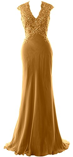MACloth Elegant V Neck Evening Formal Gown Lace ChiffonMother of the Bride Dress gold