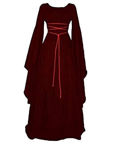 Liangzhu Damen Boho Retro Maxikleid Rundhalskleider Halloween Kostüm Langarm Kleid Renaissance Gotisch Kleider Burgunderrot S