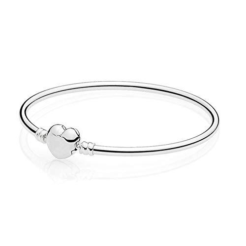 HMKLN Sterling Silber Armband Signatur Liebe Herz Verschluss Armreif Fit Lady Bead Charm Anhänger baumeln (Personalisierte Signatur-schmuck)