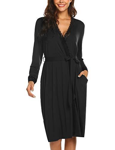 Nachtwäsche Damen morgenmantel Kimono Saunamantel Schlafanzug Pyjama Sexy V-Ausschnitt Spitze schwarz 42 44