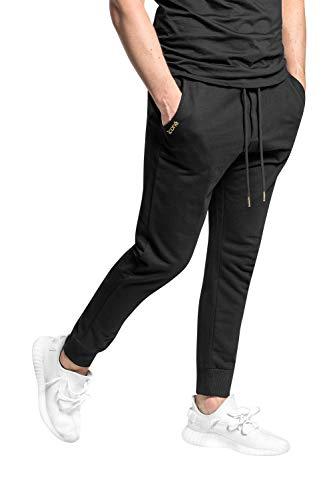 iconé Jogginghose (Schwarz mit Reißverschluss an den Taschen, L) -