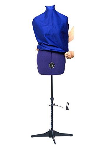 DEUBL Verstellbare Schneiderpuppe Prymadonna Damen Torso, Prymadonna, Größe: S, Vierbein Standfuß, Rockabrunder und Schutzbezug in blau -