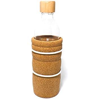 Holzdeckel Blume des Lebens Trinkflasche Lagoena 0,5l oder 0,7l Korkmantel