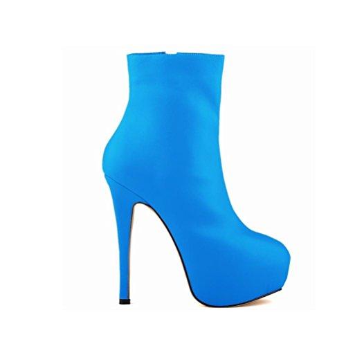 QPYC Stivali romani a punta di tacco Stivali corti a tacco alto Stivali a punta nuda con stivale singolo blue