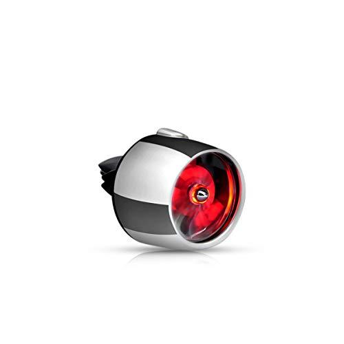Ergocar Auto Lufterfrischer Belüftungsclip Luftwaffe II Aromatherapie-Diffusor Auto-Luftreinigung Dekoration für Car Vent mit LED-Licht (Silber-Rot)