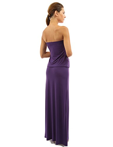 PattyBoutik Femmes La maxi robe bustier fluide avec plissée sans manches violet foncé
