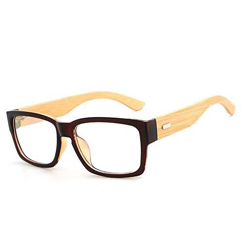 Handgemachte natürliche Bambus Beine Brillengestell Männer Frauen einfache Brillengestell Plain Gläser Brille (Color : 01Tea, Size : Kostenlos)