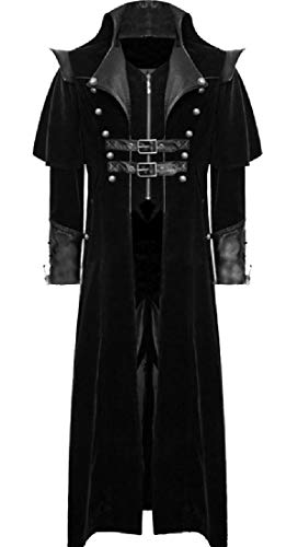 CuteRose Men's Open Front Gangster Deluxe Gothic Punk Duster Coat Black M Single Breasted Peacoat