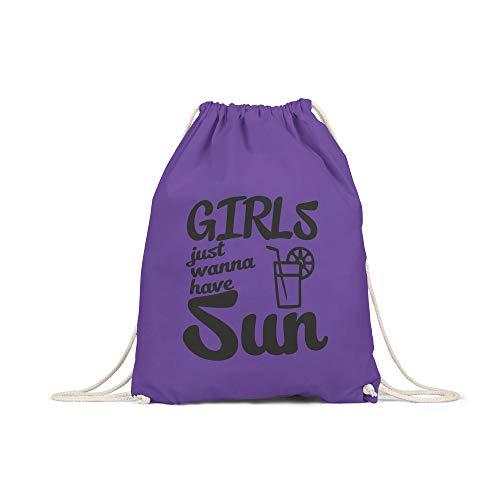 licaso Turnbeutel Bedruckt Girls Just Wanna Have Sun Print in Lila Gym Bag mit robuster Kordel Beutel Limonade, Frauen Druck Ökologisch & Nachhaltig Tragetasche 100% Baumwolle -