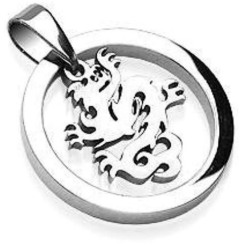 Katy Craig - Ciondolo con simbolo dragone cinese (collana NON inclusa) in acciaio INOX (non si ossida né sbiadisce), foro fermaglio ca. 4,5mm , confezione regalo inclusa, colore Argento