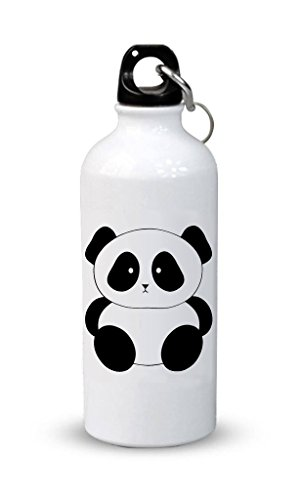 PRINT STATION Aluminum Printed Sipper, 600ml(Off-white, Panda PSSIP-22)