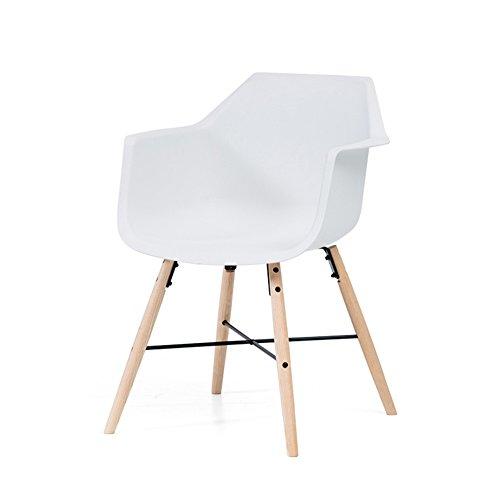 Jundengzi sedia iam in legno massello con braccioli e schienale pp comfort facile da pulire design ergonomico facile da assemblare 51 * 51 * 80,5 cm (colore : bianca)