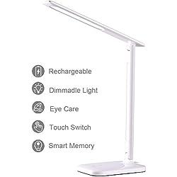 Lampada da Scrivania, Lampada da Tavolo LED Ricaricabile USB, 3 Modalità di Colore, 3 Livelli di Luminosità, Controllo Touch, Pieghevole, Risparmio Energetico, Cura degli occhi,Luminosità Sufficiente