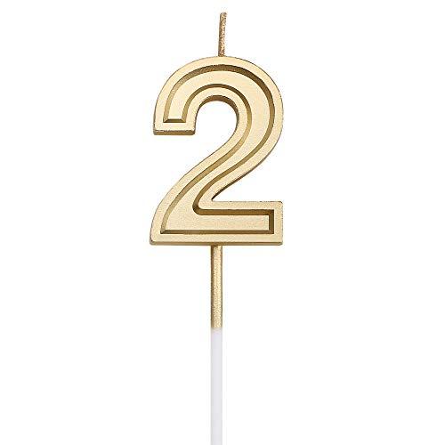 URAQT Velas De Cumpleaños Número 2, Velas De Cumpleaños Oro, Adecuado para Fiestas De Cumpleaños, Aniversarios De Bodas, Fiestas De Jubilación, Etc.